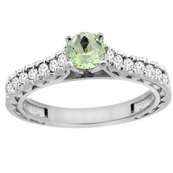 0.72 CTW Amethyst & Diamond Ring 14K White Gold