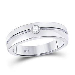 0.15 CTW Bezel-set Diamond Wedding Ring 14kt White Gold