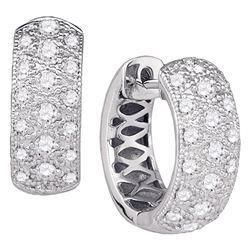 0.88 CTW Diamond Hoop Huggie Earrings 14kt White Gold