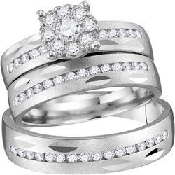 0.75 CTW Diamond Cluster Matching Bridal Wedding Ring 14kt Yellow Gold
