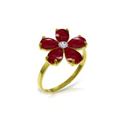 Genuine 2.22 ctw Ruby & Diamond Ring 14KT Yellow Gold