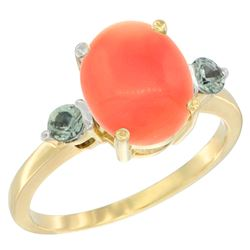0.24 CTW Green Sapphire & Natural Coral Ring 14K Yellow Gold