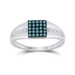 0.50 CTW Blue Color Enhanced Diamond Square Cluster Ring 10kt White Gold