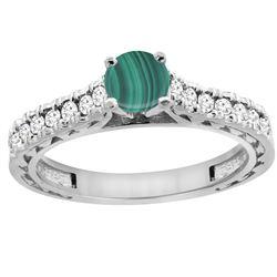 1.66 CTW Malachite & Diamond Ring 14K White Gold