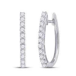 1.02 CTW Diamond Single Row Hoop Earrings 14kt White Gold