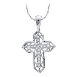 0.12 CTW Diamond Cross Frame Religious Pendant 10kt White Gold