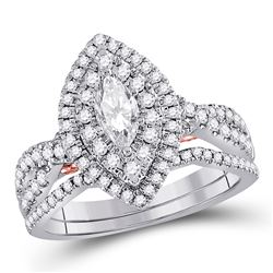 1.04 CTW Diamond Bridal Wedding Engagement Ring 14kt Two-tone Gold