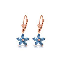 Genuine 2.8 ctw Blue Topaz Earrings 14KT Rose Gold