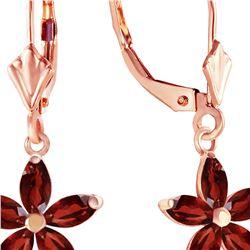 Genuine 2.8 ctw Garnet Earrings 14KT Rose Gold