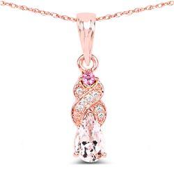 0.43 ctw Morganite, Tourmaline Pink & Diamond Pendant 14K Rose Gold