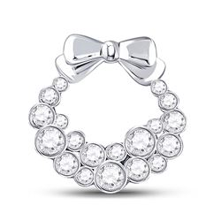0.46 CTW Diamond Holiday Wreath Pendant 10kt White Gold