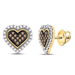 0.25 CTW Brown Diamond Heart Cluster Earrings 10kt Yellow Gold