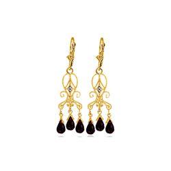 Genuine 6.31 ctw Garnet & Diamond Earrings 14KT Yellow Gold