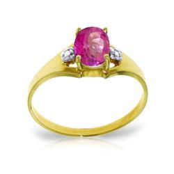 Genuine 0.76 ctw Pink Topaz & Diamond Ring 14KT Yellow Gold