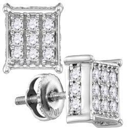 0.51 CTW Diamond Square Cluster Stud Earrings 10kt White Gold