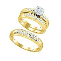 0.30 CTW Diamond Matching Trio Wedding Bridal Ring 10kt Yellow Gold