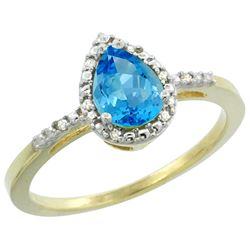 1.55 CTW Swiss Blue Topaz & Diamond Ring 10K Yellow Gold