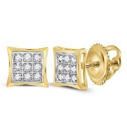 0.05 CTW Diamond Kite Cluster Earrings 10kt Yellow Gold