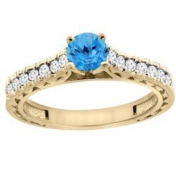0.86 CTW Swiss Blue Topaz & Diamond Ring 14K Yellow Gold