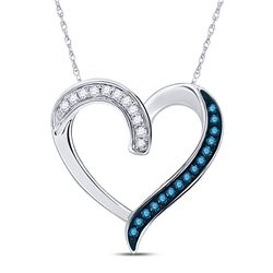 0.20 CTW Blue Color Enhanced Diamond Heart Outline Pendant 10kt White Gold