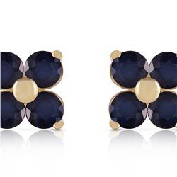 Genuine 1.15 ctw Sapphire Earrings 14KT Yellow Gold