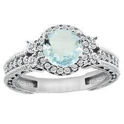 1.46 CTW Aquamarine & Diamond Ring 14K White Gold