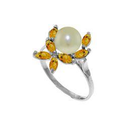 Genuine 2.65 ctw Pearl & Citrine Ring 14KT White Gold