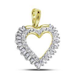 0.27 CTW Diamond Heart Frame Outline Pendant 14kt Yellow Gold