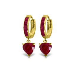 Genuine 3.65 ctw Ruby Earrings 14KT Yellow Gold