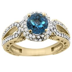 1.50 CTW London Blue Topaz & Diamond Ring 14K Yellow Gold
