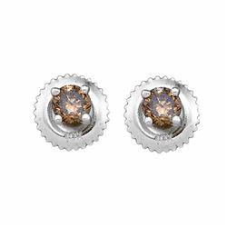0.50 CTW Brown Diamond Stud Earrings 10kt White Gold