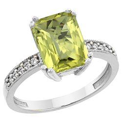 3.70 CTW Lemon Quartz & Diamond Ring 14K White Gold