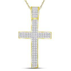 2.54 CTW Diamond Roman Cross Crucifix Charm Pendant 10kt Yellow Gold