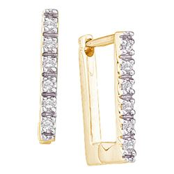 0.06 CTW Diamond Rectangle Notched-post Hoop Earrings 10kt Yellow Gold