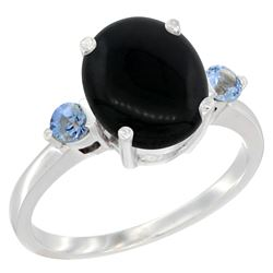 1.79 CTW Onyx & Blue Sapphire Ring 14K White Gold