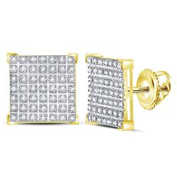 0.30 CTW Diamond Square Cluster Earrings 10kt Yellow Gold