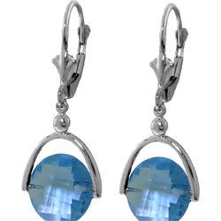 Genuine 6.5 ctw Blue Topaz Earrings 14KT White Gold