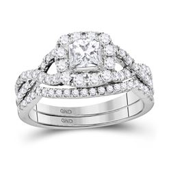 0.97 CTW Diamond Twist Bridal Wedding Engagement Ring 14kt White Gold