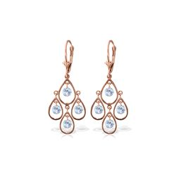 Genuine 2.4 ctw Aquamarine Earrings 14KT Rose Gold