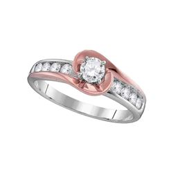 0.61 CTW Diamond Solitaire Bridal Wedding Engagement Ring 14kt Two-tone Gold