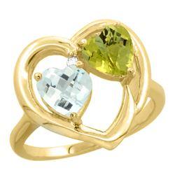 2.61 CTW Diamond, Aquamarine & Lemon Quartz Ring 10K Yellow Gold