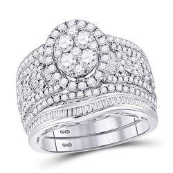 2.03 CTW Diamond Oval Bridal Wedding Engagement Ring 14kt White Gold