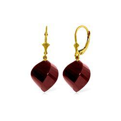 Genuine 30.5 ctw Ruby Earrings 14KT Yellow Gold