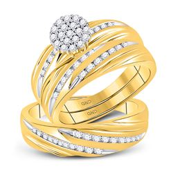 0.79 CTW Diamond Cluster Matching Bridal Wedding Ring 10kt Yellow Gold