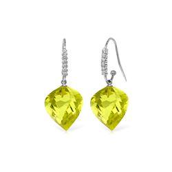 Genuine 21.68 ctw Lemon Quartz & Diamond Earrings 14KT White Gold