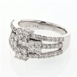 1.56 CTW Diamond Ring 18K White Gold