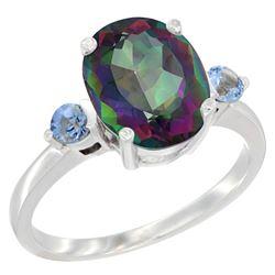 2.64 CTW Mystic Topaz & Blue Sapphire Ring 10K White Gold