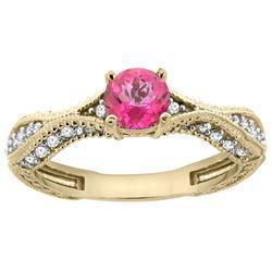 0.81 CTW Pink Topaz & Diamond Ring 14K Yellow Gold