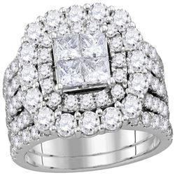 4.59 CTW Diamond Bridal Wedding Engagement Ring 14kt White Gold
