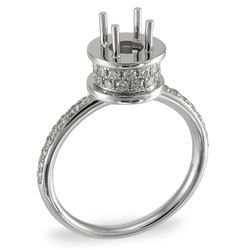0.45 CTW Diamond Semi Mount Ring 14K White Gold